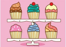 Free vector Cute Cupcake Stand Vector #24072