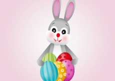 Free vector Cute easter bunny with eggs #22006