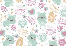 Free vector Cute floral background with bears #26961