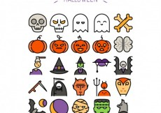 Free vector Cute halloween icons #27717