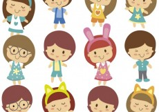 Free vector Cute kids character #26661