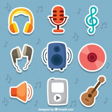 Free vector Cute music stickers #25699