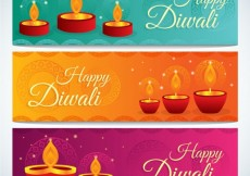 Free vector Diwali banners with candles #24430