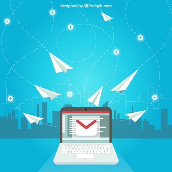 Free vector E-mail concept with paper planes #21254