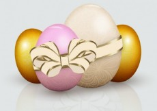 Free vector Easter eggs with ribbon  #21630