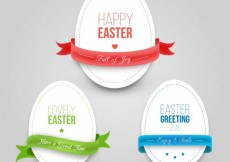 Free vector Easter eggs with ribbons in cut-out style #20712