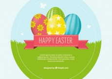 Free vector Easter round card #22014