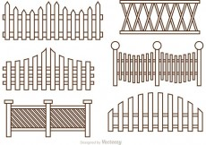 Free vector Fence Outline Icons Vector #22059