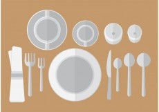 Free vector Flat Dinner Table Setting Vector #22972