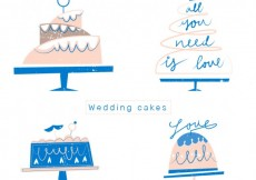 Free vector Flat Wedding Cakes Collection #26625