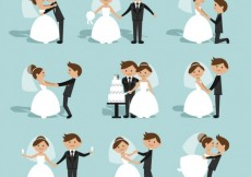 Free vector Flat Wedding Couple Collection #27199