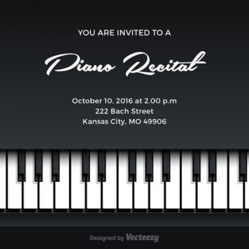Free vector Free Piano Recital Vector Invitation #26982