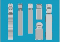 Free vector Freight Trucks Aerial View Set #22101