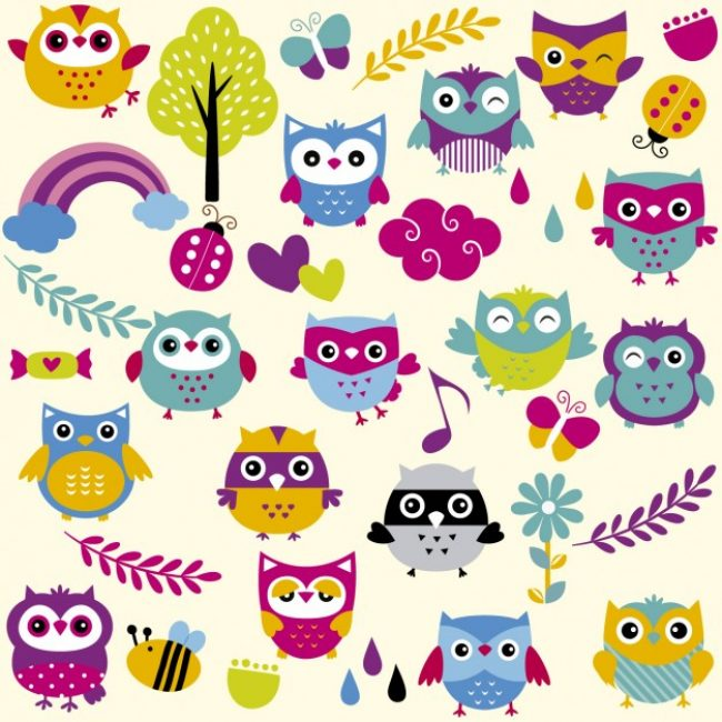 Free vector Funny and colorful owls #26303
