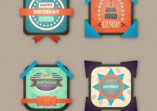 Free vector Geometric birthday badges #26134
