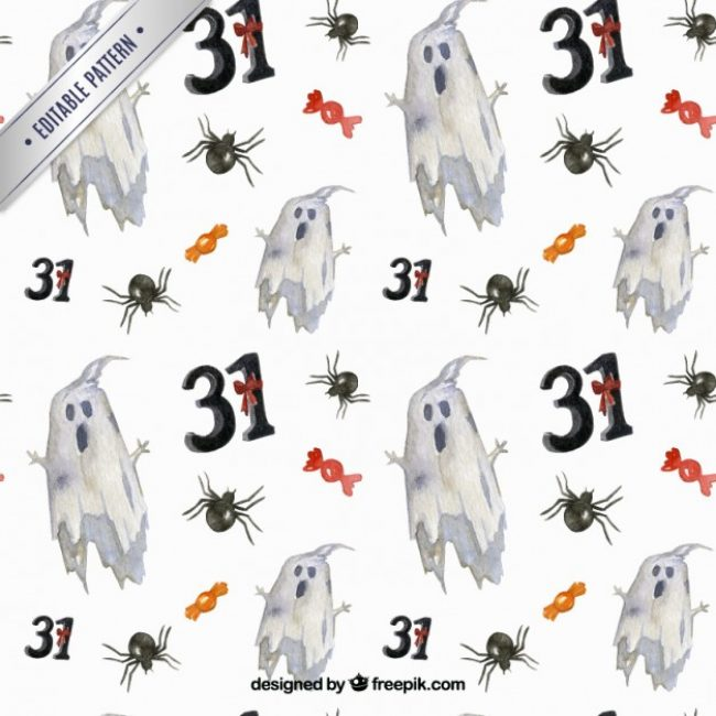 Free vector Halloween ghosts pattern #25643