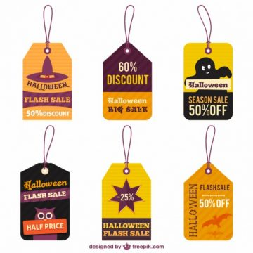 Free vector halloween sale tags #25615