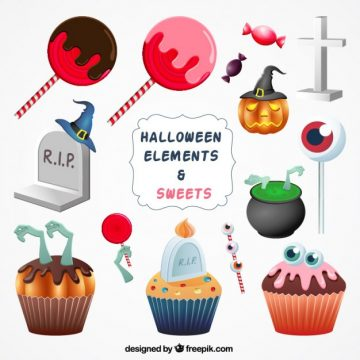 Free vector halloween sweets and ornaments #25983
