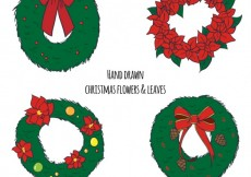 Free vector Hand drawn christmas flowers and leaves #26927