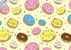 Free vector Hand drawn colored donuts pattern #26187