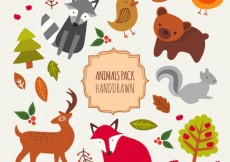 Free vector Hand drawn cute animals pack #20279
