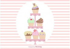 Free vector Hand Drawn Cute Cupcake Stand Vectors #21392