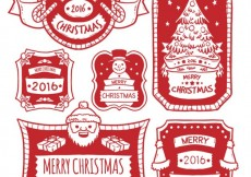 Free vector Hand drawn red christmas badges #25451