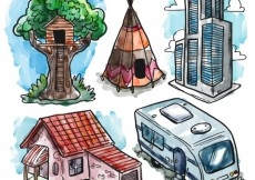 Free vector Hand painted different houses #24652