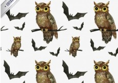 Free vector Hand painted halloween owls and bats pattern #25651