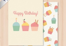 Free vector happy birthday card with cupcakes #20325