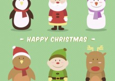 Free vector Happy christmas characters #24666