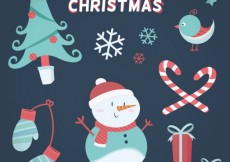 Free vector Happy christmas elements in lovely style #24670