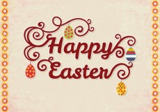 Free vector Happy easter card with lettering #21090
