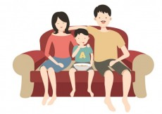 Free vector Happy family on a couch #25715