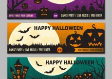 Free vector happy halloween party banners #24704