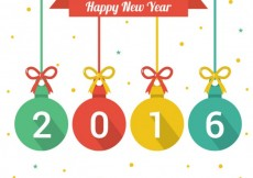 Free vector Happy new year background with christmas baubles #26333