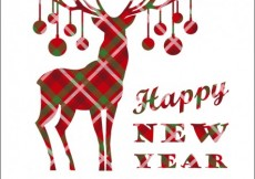 Free vector Happy new year card with checkered reindeer #24152