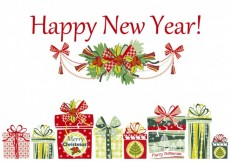 Free vector Happy new year card with presents #24114