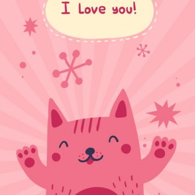 Free vector I love you card with happyness cat #27343