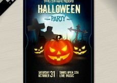 Free vector illuminated halloween pumpkins poster #24394