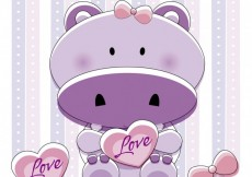 Free vector Lovely hippo with hearts #26565