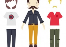 Free vector men's clothing collection in urban style #25567