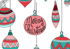 Free vector Merry christmas balls background in sketchy style #25112