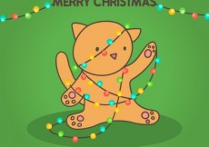 Free vector Merry christmas card with a cute cat #25217