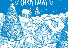 Free vector Merry christmas card with snowy village #25455