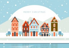 Free vector Merry christmas village #26463