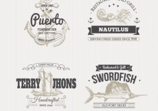 Free vector Nautical badges in illustration style #21381