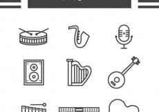 Free vector Outlined music icons #20374