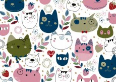 Free vector Pink and navy cats illustration #26229