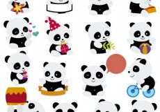 Free vector Playing pandas cartoons #26519